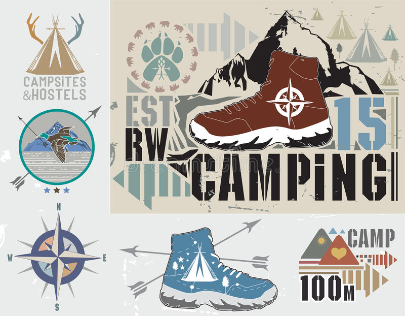 Reeks het retro kamperen en openluchtactiviteitenemblemen royalty-vrije illustratie