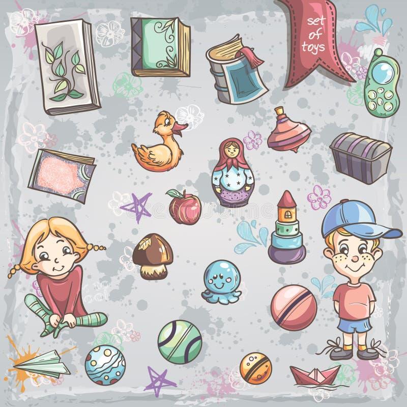 Reeks het speelgoed en boeken van kinderen voor jongens en meisjes vector illustratie