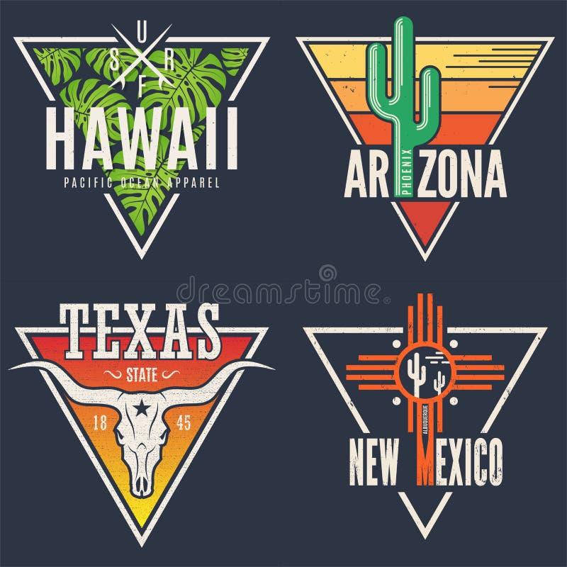 Reeks het T-stukdrukken van Hawaï Arizona Texas New Mexico vector illustratie