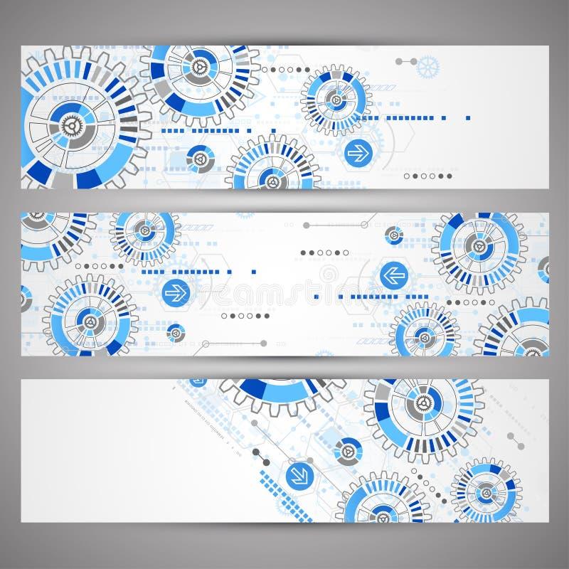 Reeks het themabanners van Webtecnology voor uw website vector illustratie