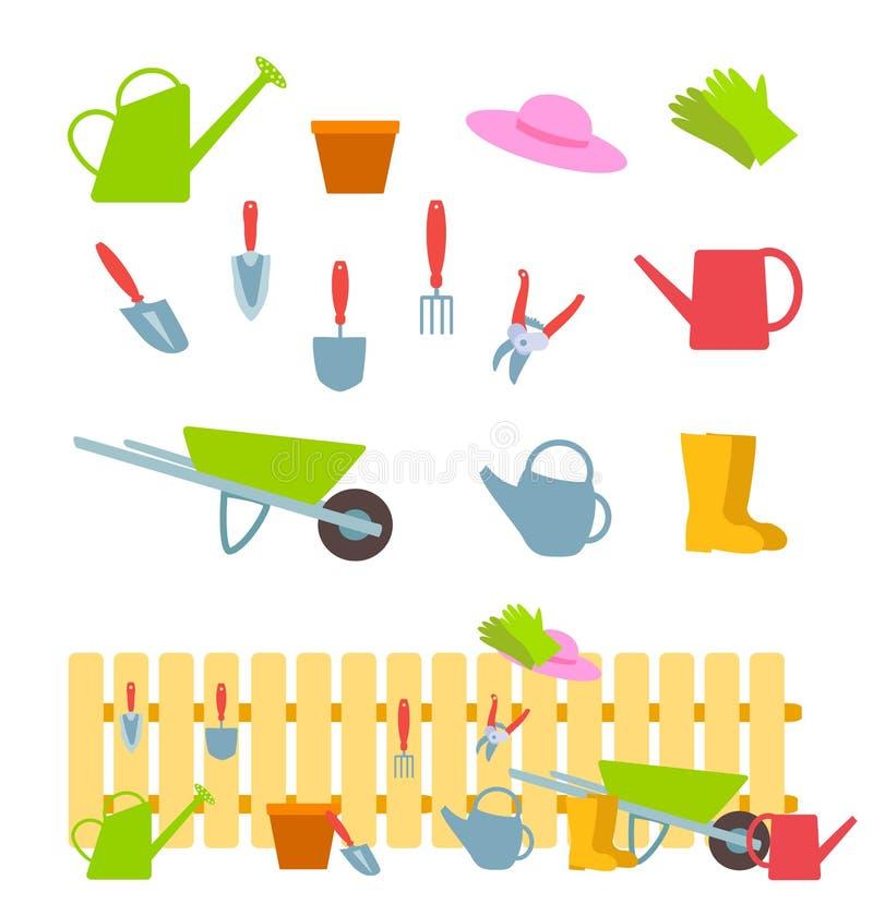 Reeks het tuinieren hulpmiddelen op wit en samenstelling met een omheining stock illustratie