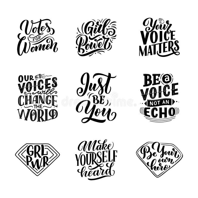 Reeks het van letters voorzien citaten over vrouwenstem en meisjesmacht Element van de het ontwerptypografie van de kalligrafiein vector illustratie