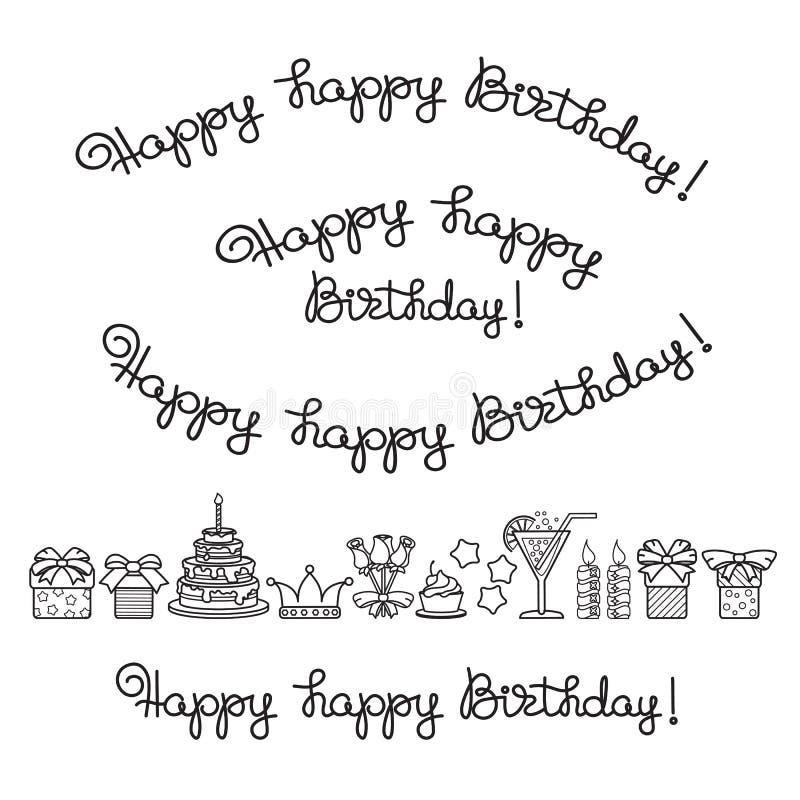 Reeks het van letters voorzien en pictogrammen voor verjaardagsvieringen Vector stock illustratie