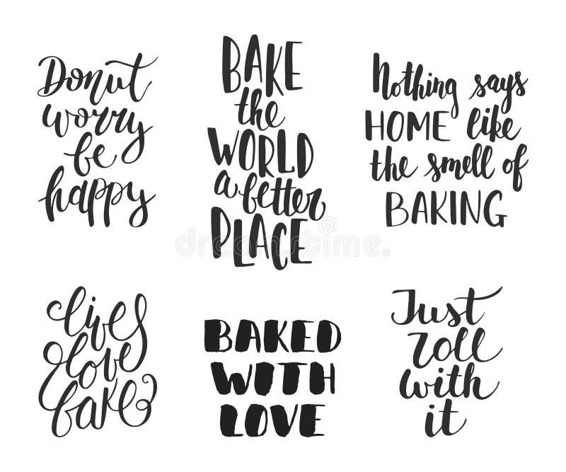 Reeks het vectorbakkerij van letters voorzien voor groetkaarten, decoratie, stock illustratie