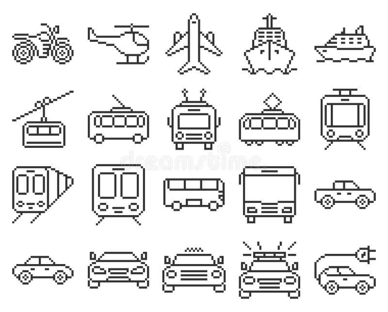 Reeks het vervoerpictogrammen van het lijnpixel vector illustratie
