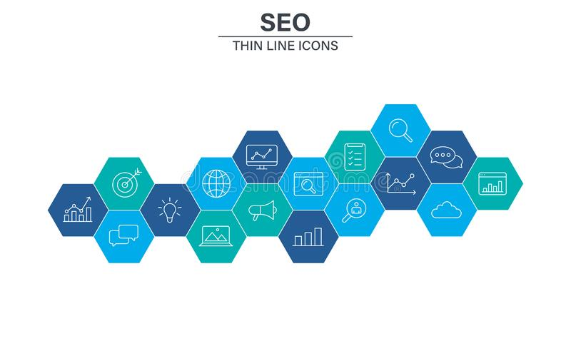 Reeks het Webpictogrammen van SEO en van de Ontwikkeling in lijnstijl Contact, Doel, Website Vector illustratie stock illustratie
