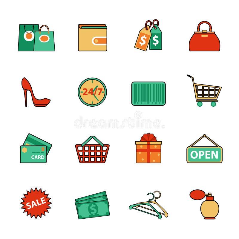 Reeks het winkelen en verkooplijnpictogrammen Vlakke stijl royalty-vrije illustratie