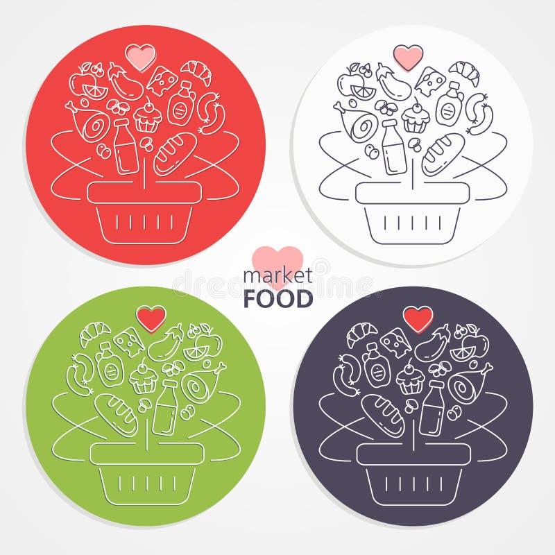 Reeks het winkelen manden met vruchten, groenten, cakes, vlees, sa stock illustratie