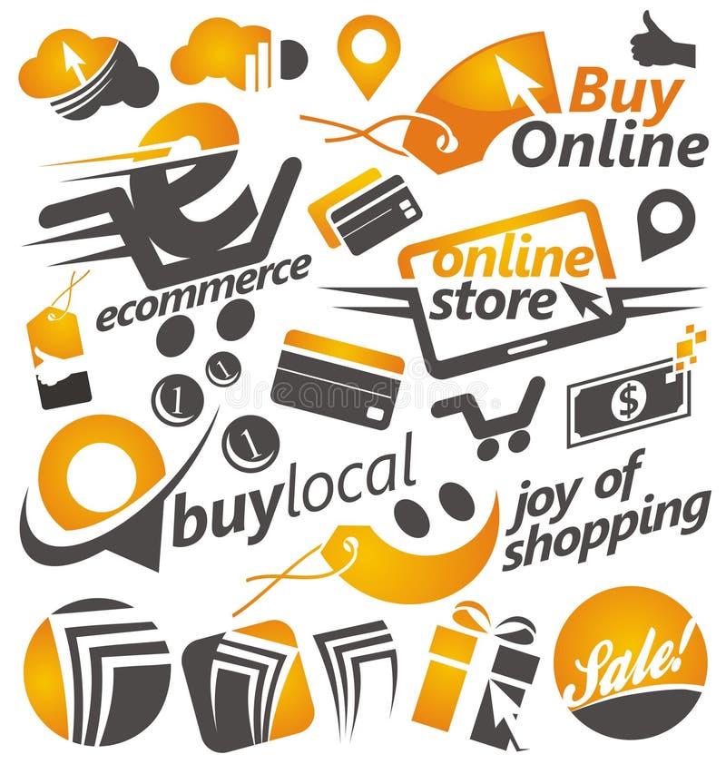 Reeks het winkelen pictogrammen, tekens en symbolen royalty-vrije illustratie