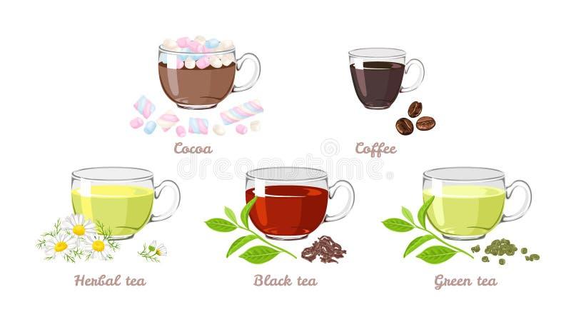 Reeks hete dranken in glaskoppen Cacao met heemst, koffie, zwarte en groene thee, kruidenkamillethee stock illustratie
