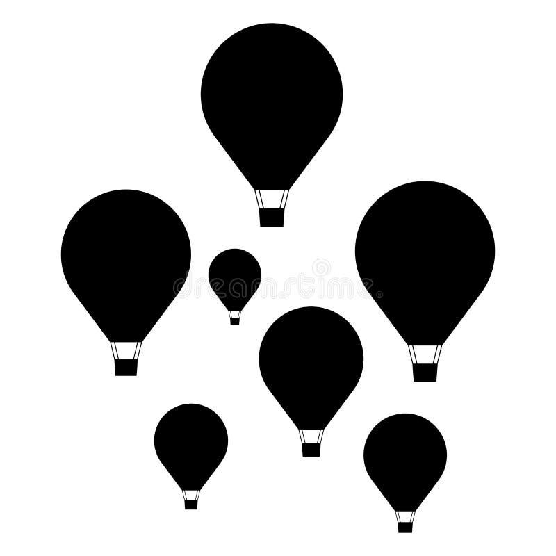 Reeks hete luchtballons, minimale vlakke stijl stock fotografie