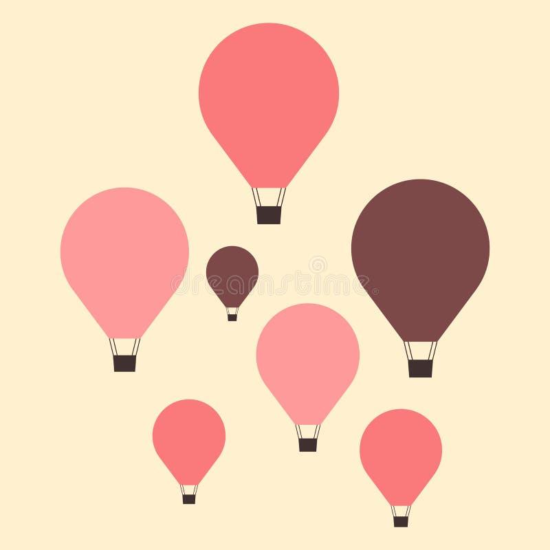 Reeks hete luchtballons, minimale vlakke stijl stock afbeeldingen