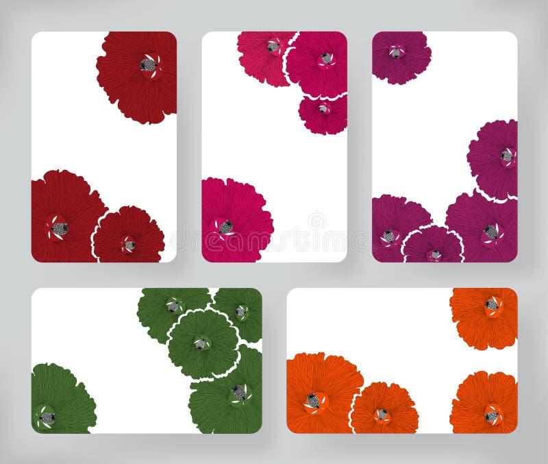 Reeks hibiscusbloemen en Brochures De vectorinzameling van Ontwerpmalplaatjes voor Banners, Vliegers, Kaart en Aanplakbiljettenac royalty-vrije illustratie