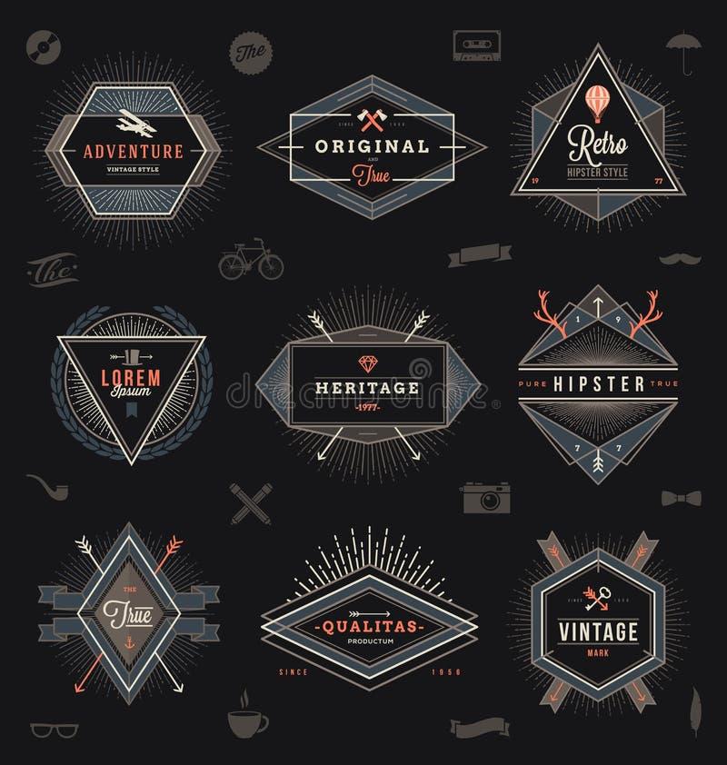Reeks hipster in emblemen stock illustratie