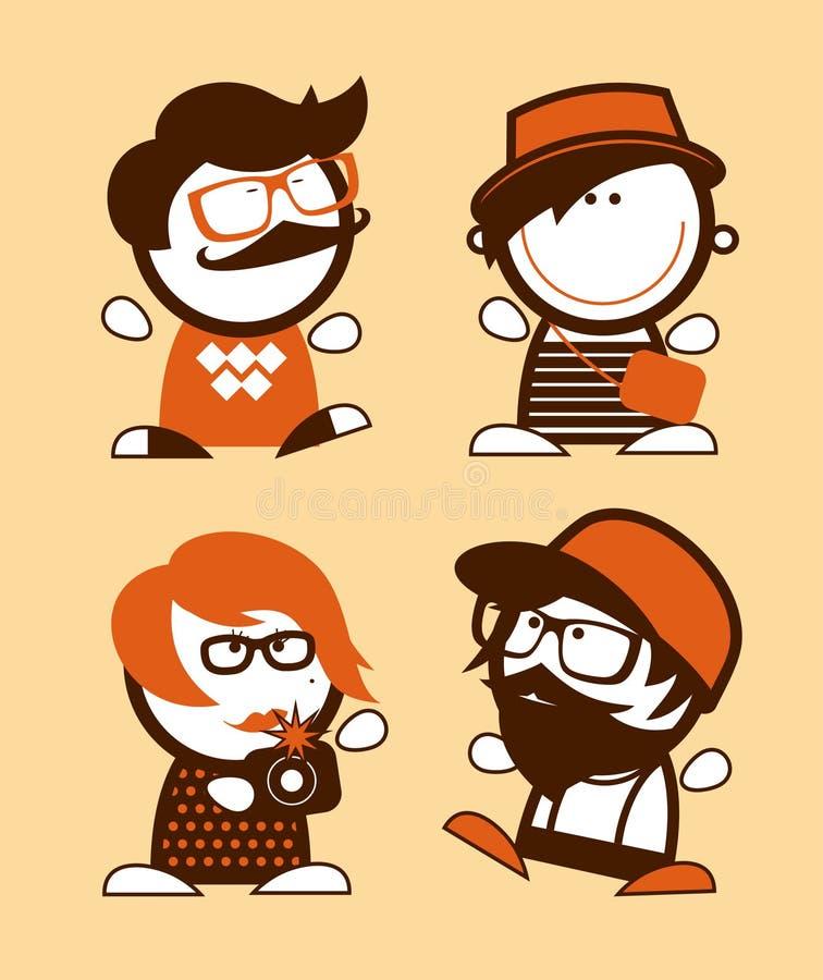 Reeks hipster grappige volkeren. royalty-vrije illustratie