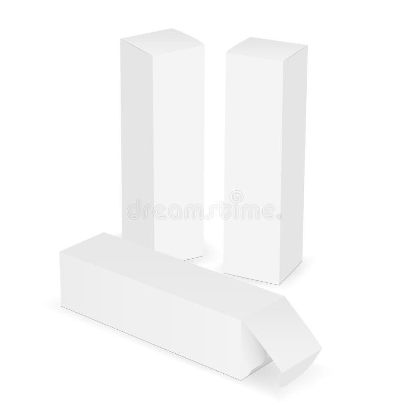 Reeks hoge rechthoekige die kartondozen op witte achtergrond wordt geïsoleerd stock illustratie