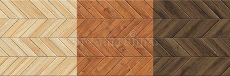 Reeks hoge resolutie naadloze texturen van houten parket Chevronpatronen stock foto
