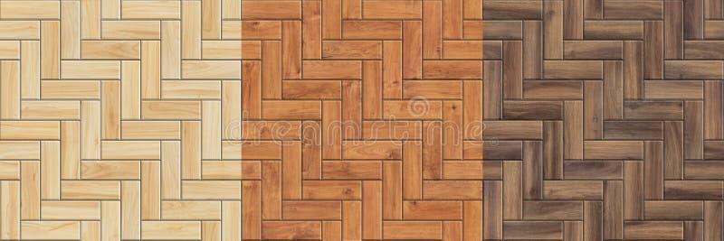 Reeks hoge resolutie naadloze texturen van houten parket Visgraatpatronen royalty-vrije stock foto