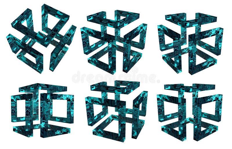 Reeks holle 3d kubussen die van kringsraad wordt gemaakt royalty-vrije illustratie