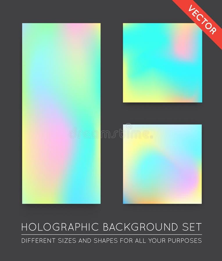 Reeks Holografische In Achtergronden Kan voor Dekking, BO worden gebruikt stock illustratie