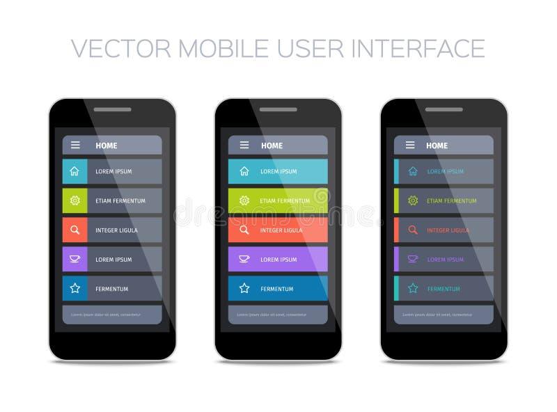 Reeks homepages voor mobiele ui vector illustratie