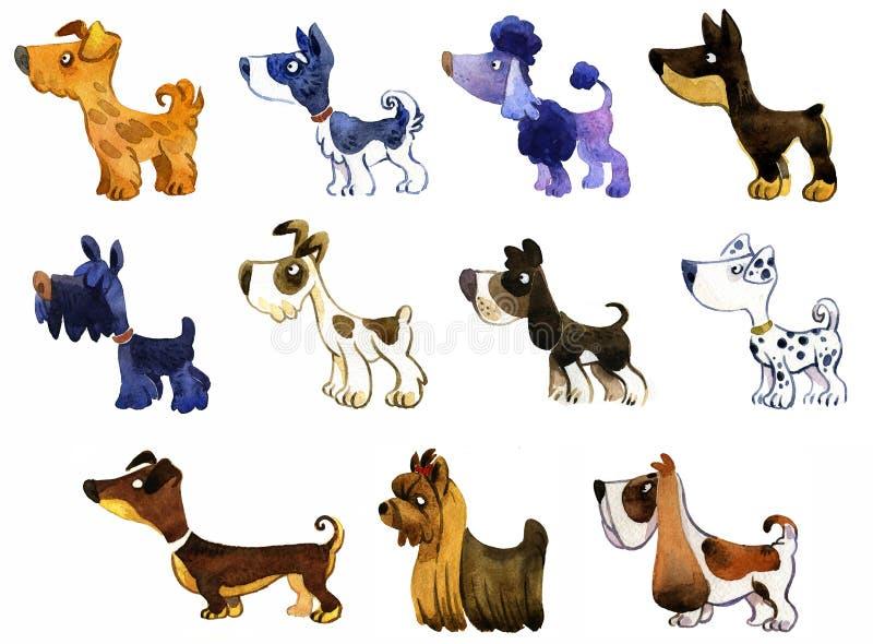 Reeks honden van het waterverfbeeldverhaal: dalmatian, doberman poedel, kuuroord stock illustratie