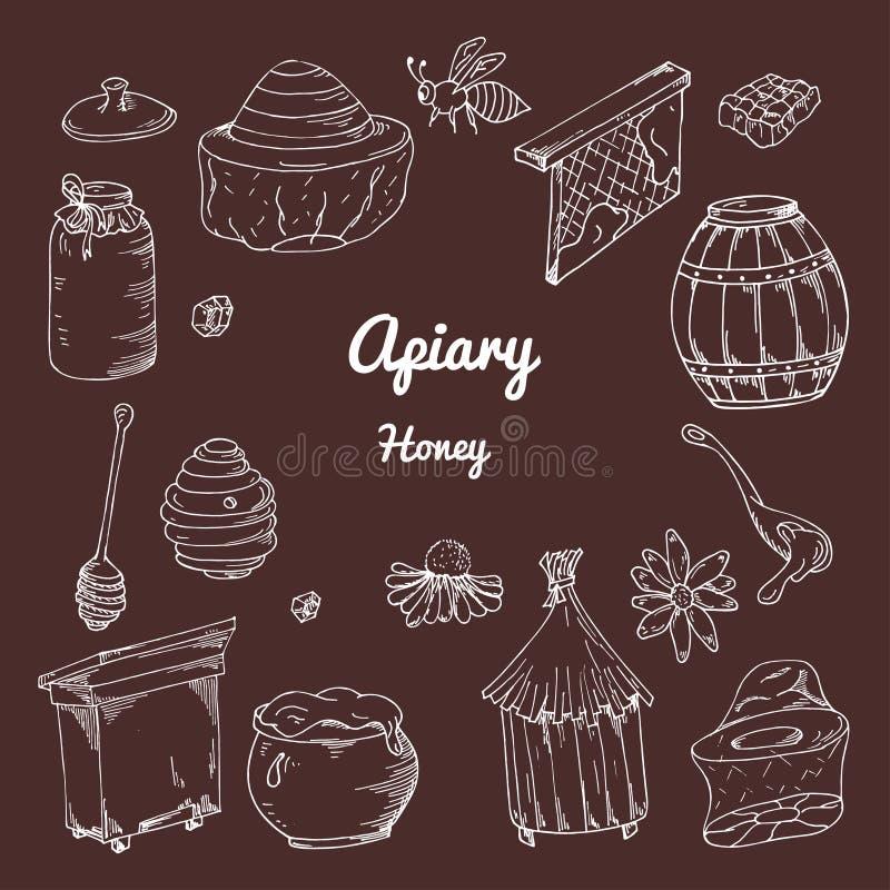 Reeks honingselementen Bijenstalpictogrammen voor uw ontwerp Vectorschetsen, vector illustratie