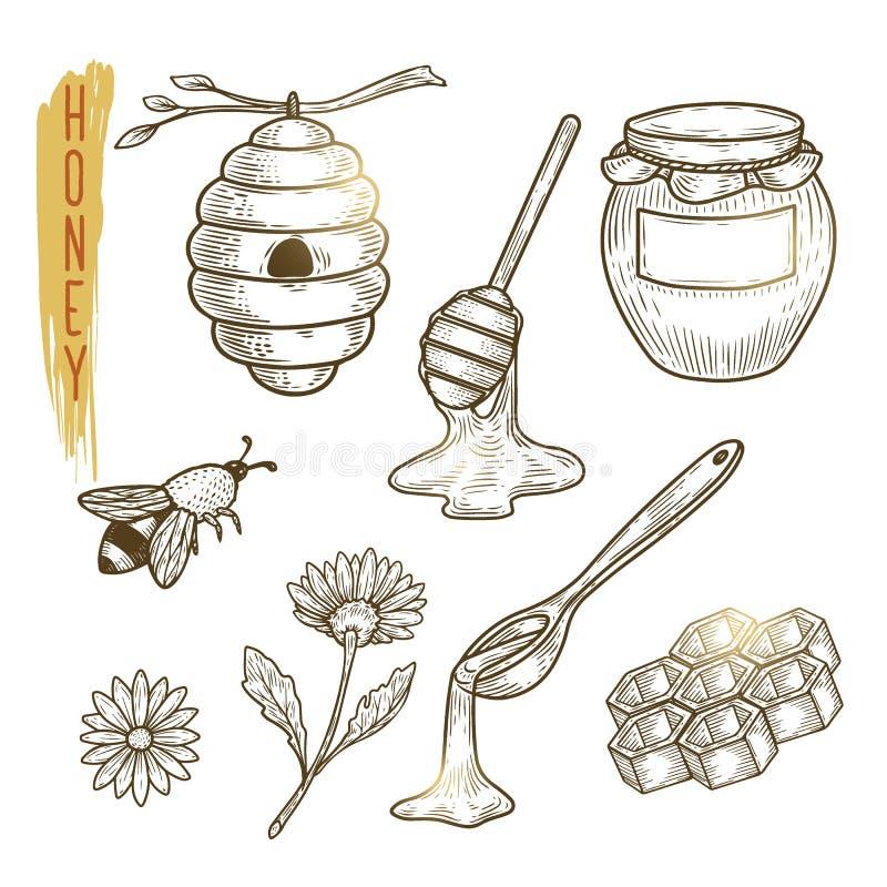 Reeks honingselementen Vectorschets van zoet die biologisch product op achtergrond wordt geïsoleerd stock illustratie