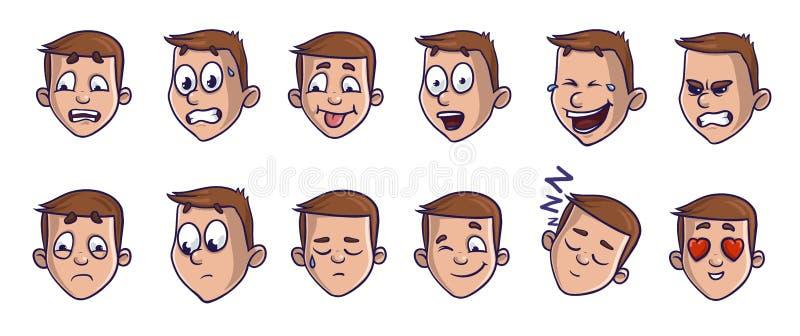 Reeks hoofdbeelden met verschillende emotionele uitdrukkingen De gezichten die van het Emojibeeldverhaal verious gevoel vervoeren stock illustratie