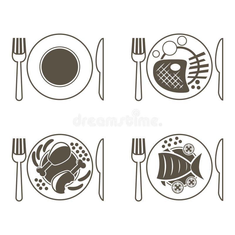 Reeks hoofdgerechtpictogrammen voor een restaurant Vissen, vlees, kip, lege plaat royalty-vrije illustratie