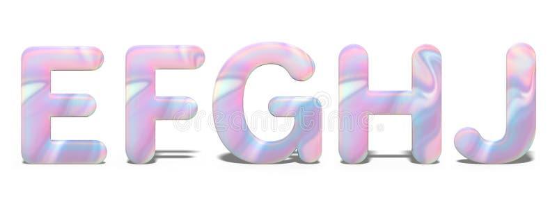 Reeks hoofdletters E, F, G, H, J in helder holografisch ontwerp, glanzend neonalfabet royalty-vrije illustratie