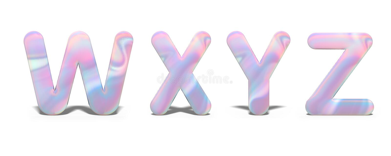 Reeks hoofdletters W, X, Y, Z in helder holografisch ontwerp, glanzend neonalfabet vector illustratie