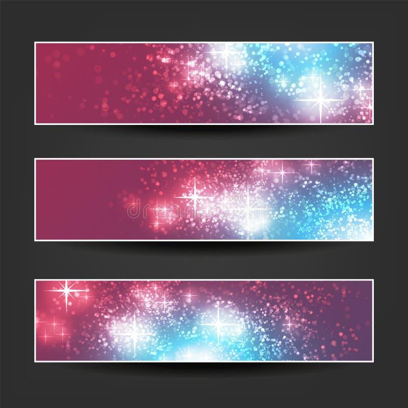 Reeks Horizontale Banner of Kopbalontwerpen Als achtergrond - Kleuren: Purper, Blauw, Wit - de Malplaatjes van de Webadvertentie  royalty-vrije illustratie