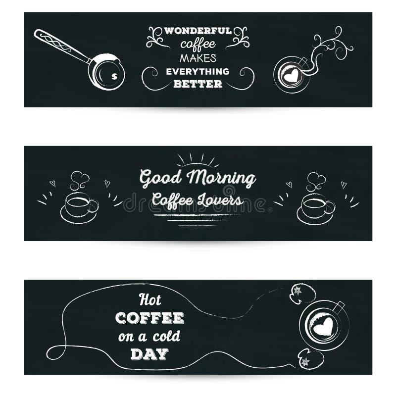 Reeks horizontale banners Affiche die met groet gestileerde tekening met kop van coffekrijt van letters voorzien op bord vector illustratie
