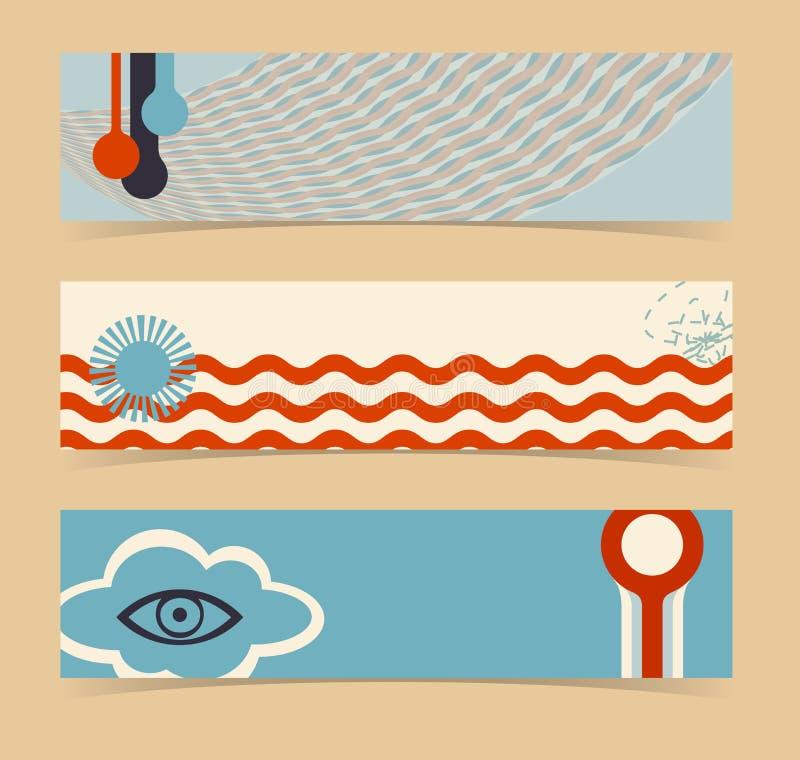 Reeks horizontale banners, kopballen. Editable desig vector illustratie