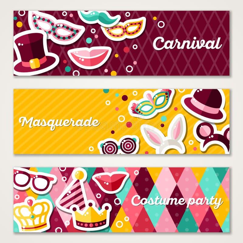 Reeks Horizontale Banners met Carnaval-Maskers vector illustratie