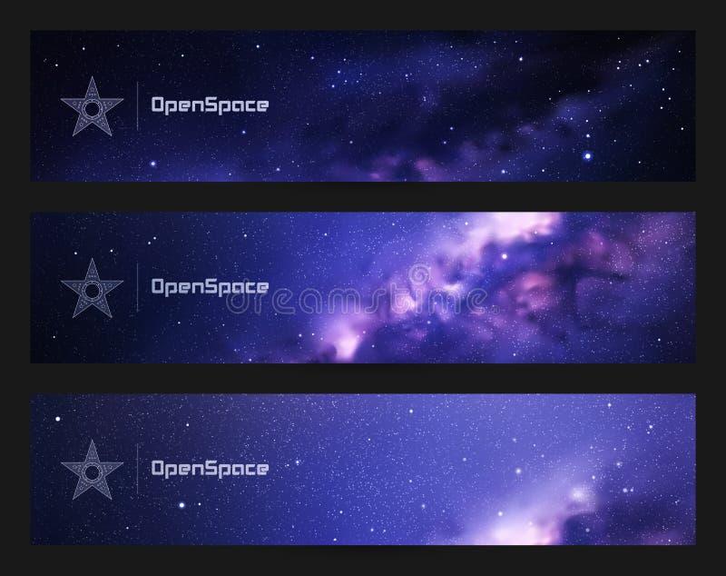 Reeks horizontale banners met nacht sterrige hemel en Melkweg vector illustratie