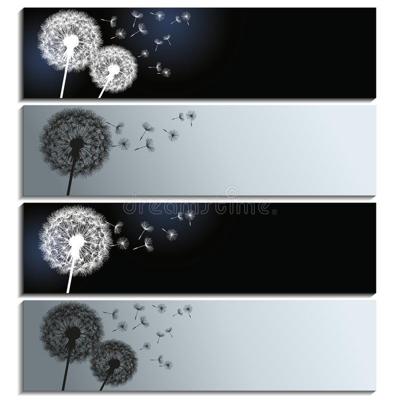 Reeks horizontale banners met zwart-witte dan stock illustratie