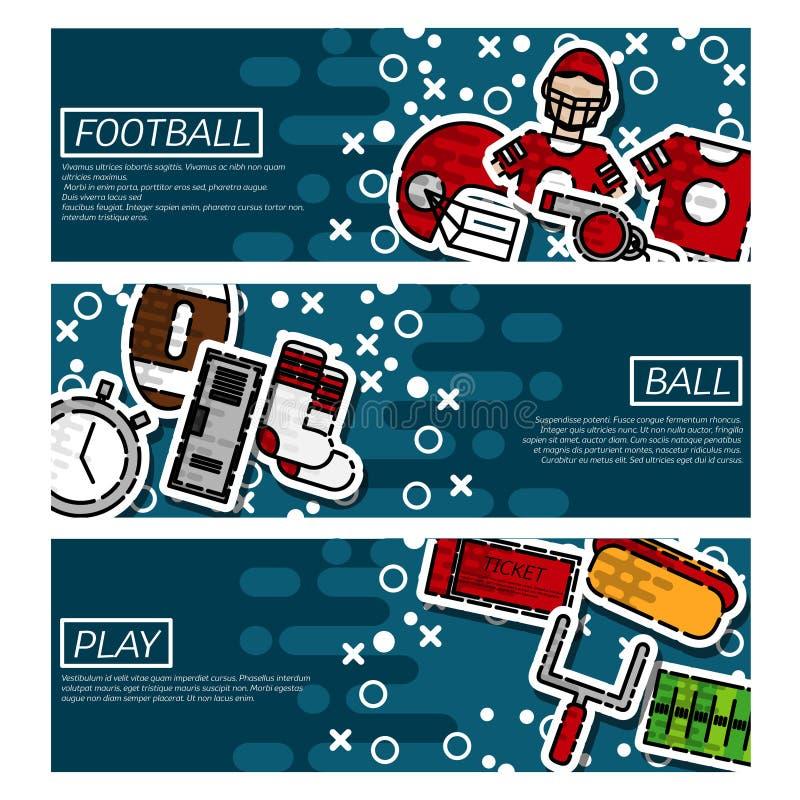Reeks Horizontale Banners over Amerikaanse voetbal vector illustratie