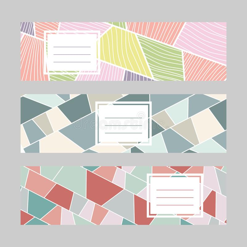 Reeks horizontale banners Tekstkader Samenvatting stock illustratie