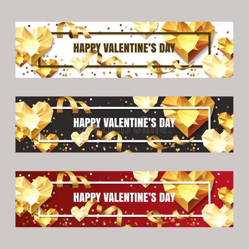 Reeks horizontale banners van de Valentijnskaartendag met 3d gouden hartdiamanten, gemmen, juwelen Vakantie gouden achtergrond stock illustratie