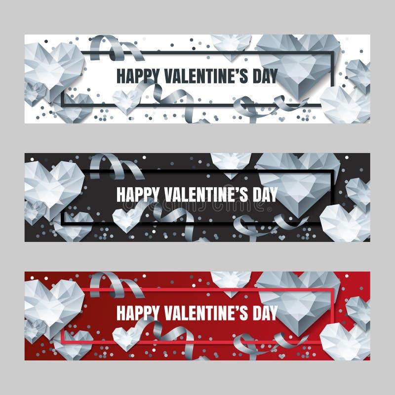 Reeks horizontale banners van de Valentijnskaartendag met 3d zilveren hartdiamanten, gemmen, juwelen stock illustratie