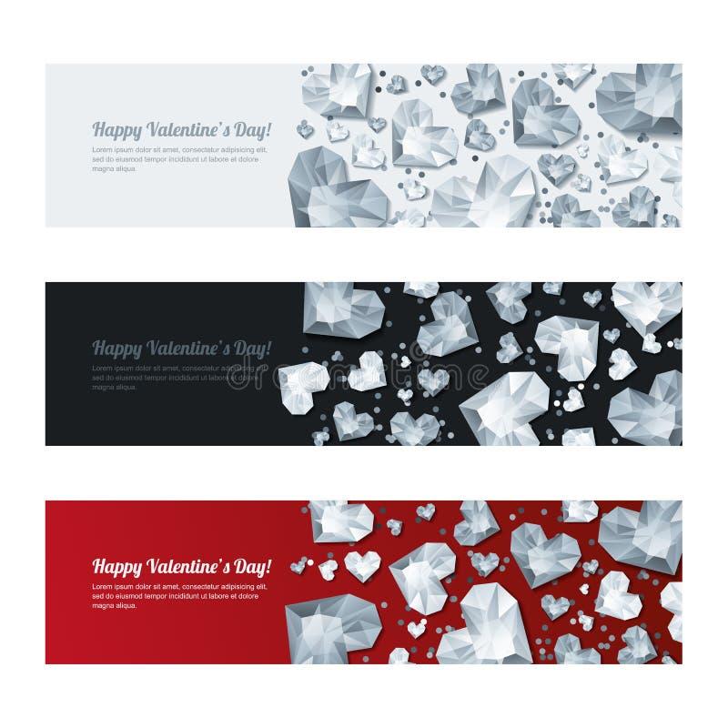Reeks horizontale banners van de Valentijnskaartendag met 3d zilveren hartdiamanten, gemmen, juwelen Vakantie glanzende achtergro royalty-vrije illustratie