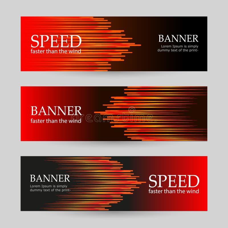 Reeks horizontale donkerrode banners met gloeiende strepen Abstracte vectorachtergrond vector illustratie