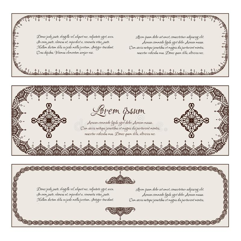 Reeks horizontale uitstekende banners met een hennakader, mehendipatroon vector illustratie