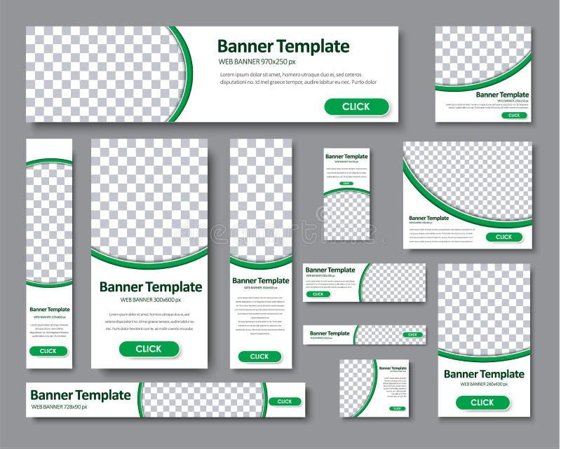 Reeks horizontale, verticale en vierkante Webbanners in standaards vector illustratie
