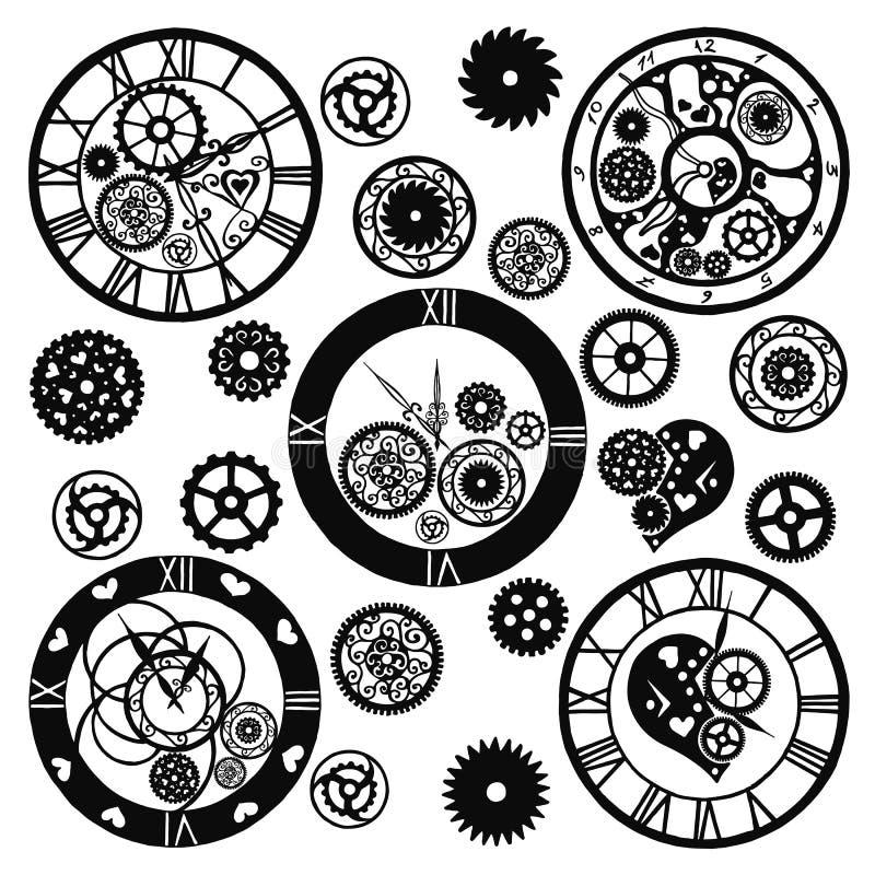 Reeks Horloges in de Victoriaanse stijl, getrokken hand Vector vector illustratie