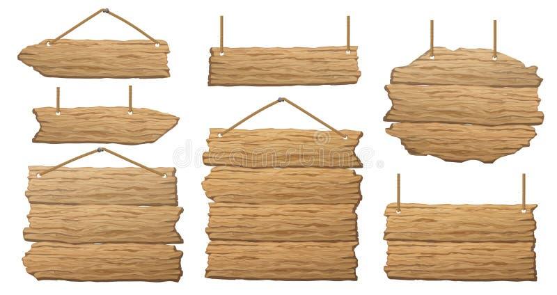 Reeks houten banner, tekenposten of raad stock illustratie