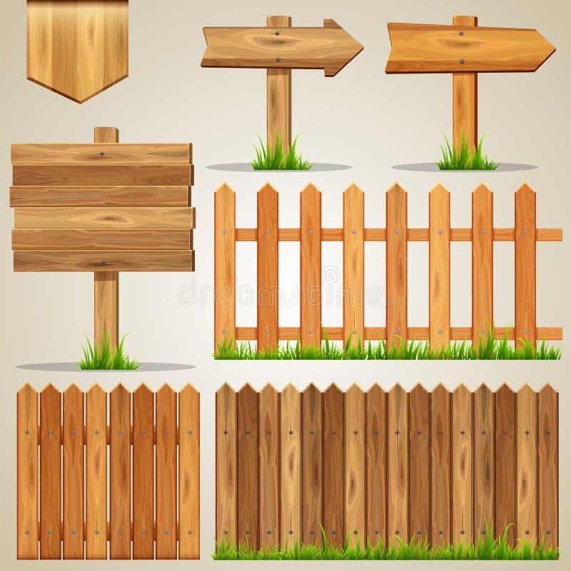 Reeks houten elementen voor ontwerp stock illustratie