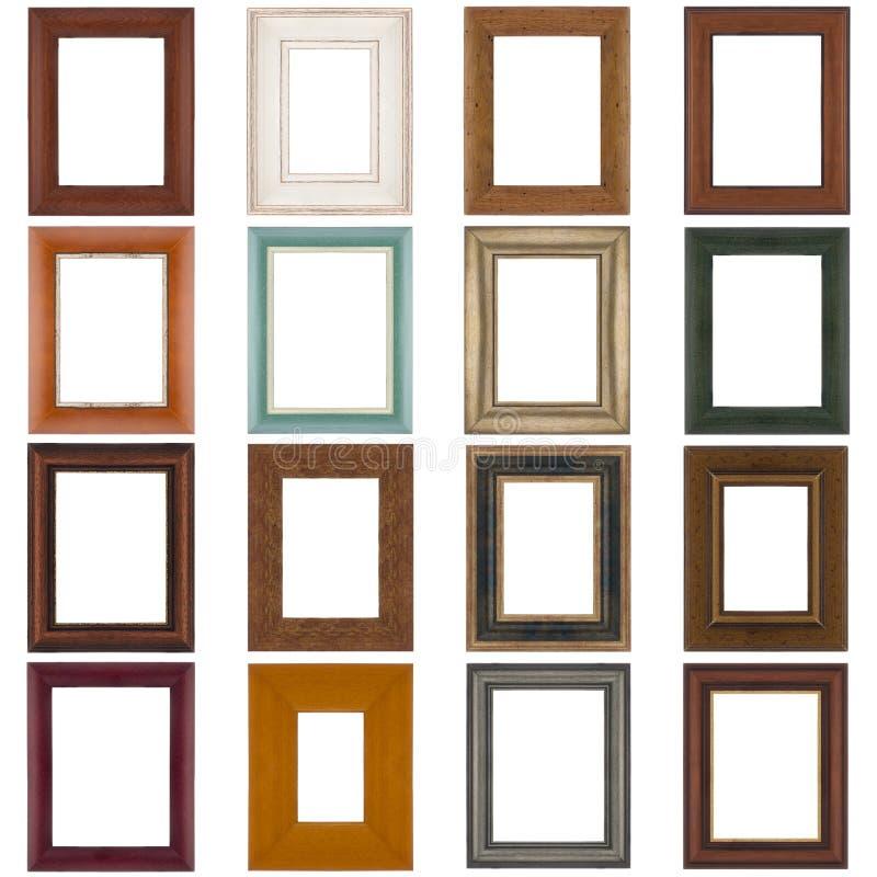 Reeks houten frames stock foto's